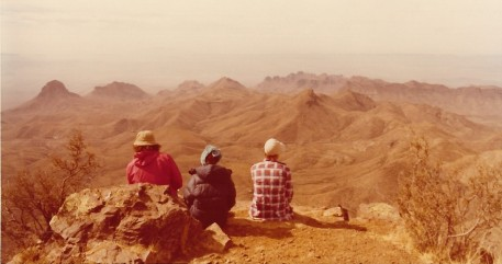 Chisos South Rim, 1980 (Karen on right with newly-made friends)