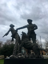 """this sculpture is dedicated to the foot soldiers of the Birmingham civil rights movement."""