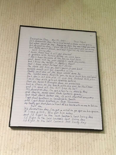 "Isbell's handwritten lyrics, ""Decoration Day"""