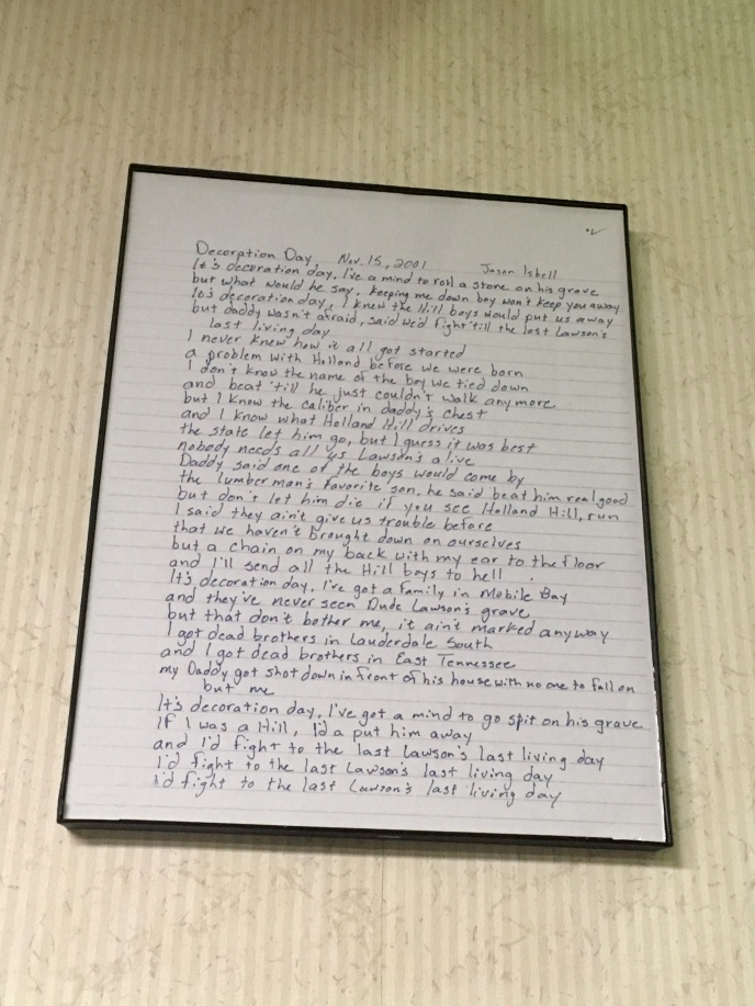 "Isbell's handwritten lyrics, ""Decoration Day"""