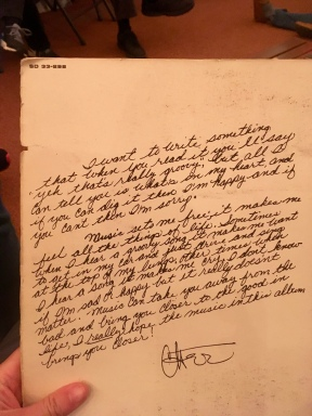 Cher's handwritten note on her album 3614 Jackson Highway (after the studio's address) - first album recorded here