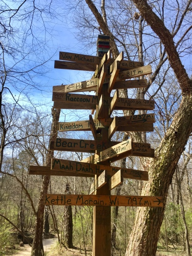 I enjoyed this signpost to trails my friends ride (Maah Daah Hey, Kettle Morain), and some I've ridden (Kingdom, Ouachita, Pisgah (some on other sides of signpost)