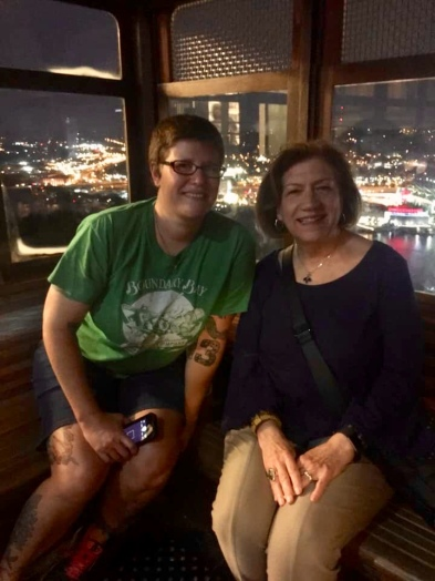 with Karen on the incline
